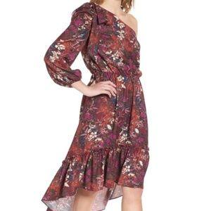 Chelsea28 floral ruffle one shoulder midi dress
